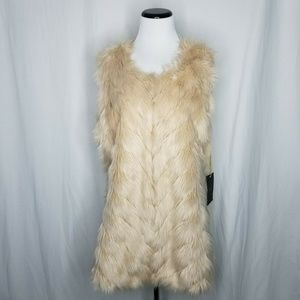 Metric Knits Beige Faux Fur Knit Sweater Vest